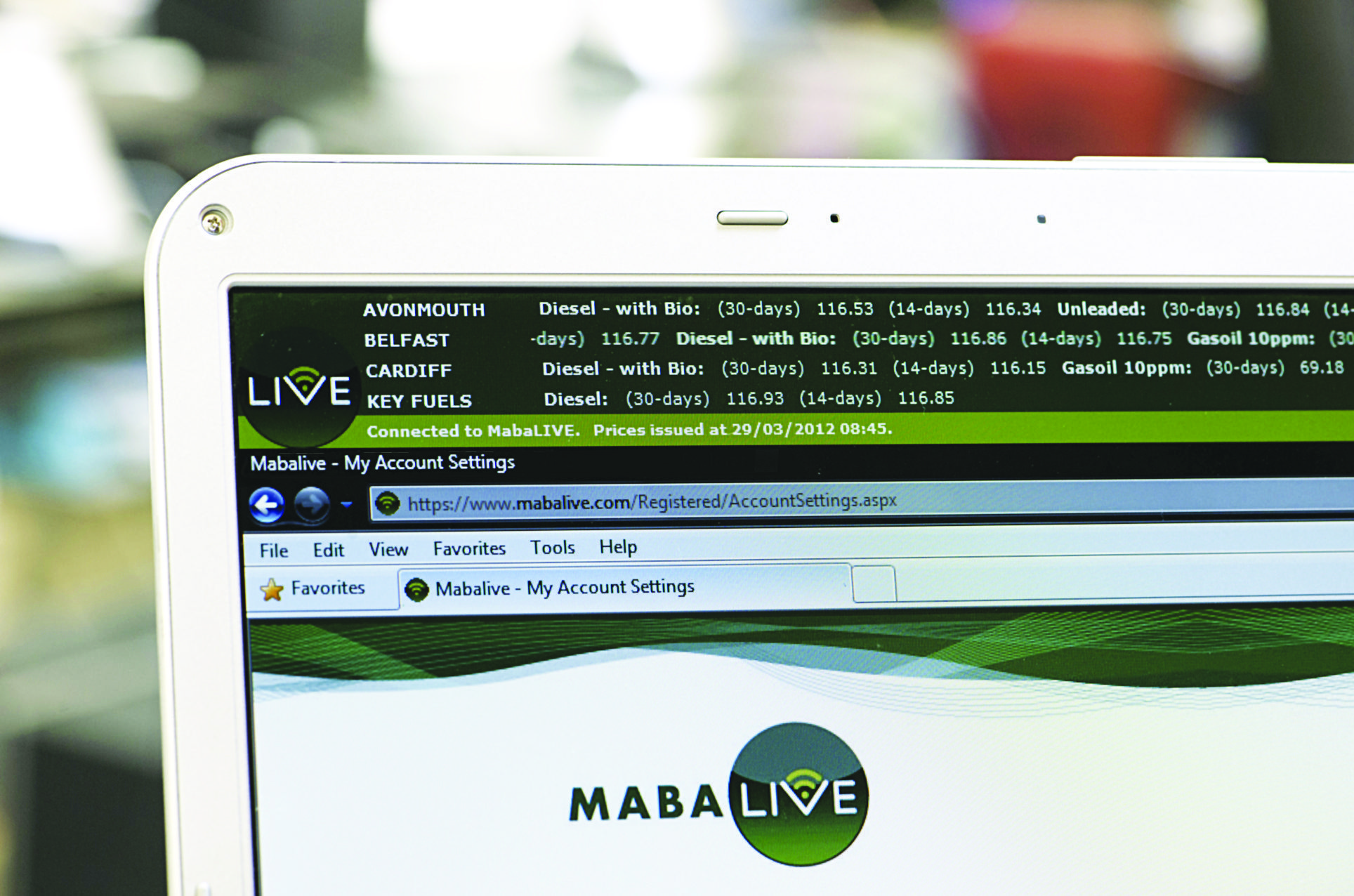 Mabanaft's MabaLIVE online price information