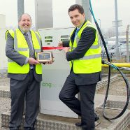 Officially launching the new filling station - CNG Services John Baldwin and Edward Timpson, MP for Crewe and Nantwich