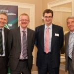 Jeremy Hawksley (director general, OFTEC), Martyn Bridges (new OFTEC chairman), Nick Hawkins, DESO Engineering (new OFTEC vice chairman) and Barry Gregory, Riello (outgoing OFTEC chairman)