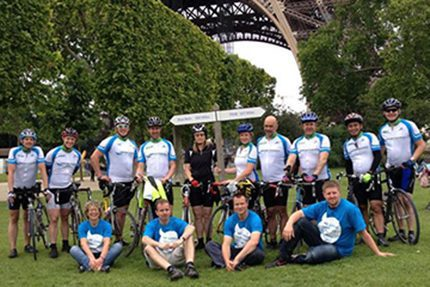 The Basingstoke to Paris team in Airport Energy sponsored shirts