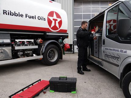 MechTronic products are supported by the 12 strong MTS team, a member of which is seen here attending to a Ribble Fuel Oils tanker