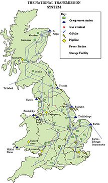 Map Of Uk Oil Fields.Gas Grid And Storage Facilities In The Uk
