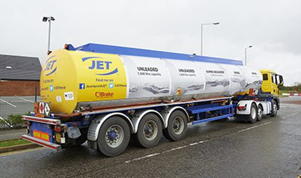 One of JET's specially rebranded tankers in support of Road Safety Week