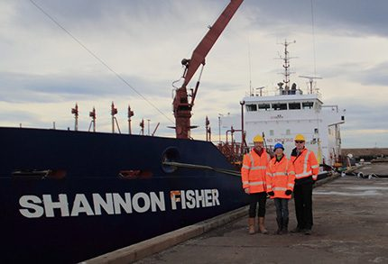 Geos Group managing director Barry Newton, and project leader Liz Winship with Port of Blyth director Alan Todd, alongside The Shannon Fisher at the new terminal