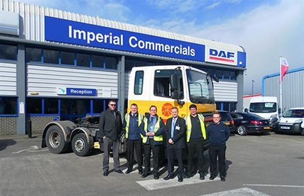 Dan Bauckham (4th from left) with the team at Imperial Commercials' sales, service and parts facility in St Philips, Bristol