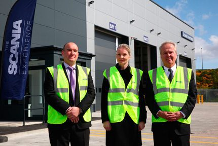 Iain Duncan, general manager at Scania Inverness with Nicola Clase, Sweden's ambassador to the UK and Claes Jacobsson, managing director Scania GB