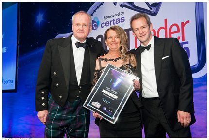 Certas Energy retail director, Ramsay MacDonald and cluster manager Senga Mulrine with TV comedian Alexander Armstrong