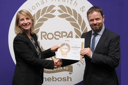 Russell Best, HSE advisor at Phillips 66 receives the award from RoSPA's Jocelyn McNulty