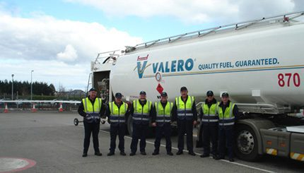 l-r Tommy Vickers, HOYER operations manager Valero Into-plane operation with members of the driving team - Joe Gilmore, Des Byrne, Trevor Blanche, John Stynes, Greg Byrne and Karl Burke - Dublin airport