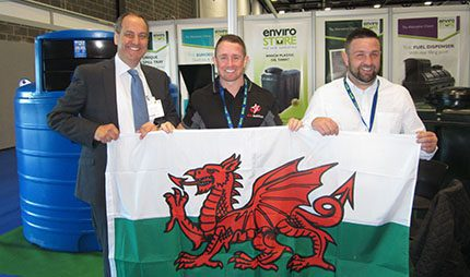 News of the new openings - a Welsh office in Carmarthenshire for Envirostore and a depot in Ammanford for Star Multifuels was announced on the Envirostore stand at FPS EXPO 2016 in Liverpool. (L-r) Richard Marsh with Shane Williams and Andrew Lacey both of Star Multifuels