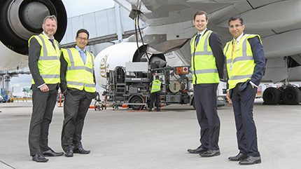 The Essar marketing team at Manchester Airport - Simon Jones, sales support manager, Carlos Rojas, head of marketing strategy, Adam Brayne, business development manager and Mithlesh Sahani, head of supply