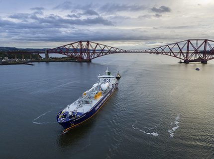 Carrying 27,500m3 of ethane from US shale fields, the INEOS Insight heads for Grangemouth with the words Shale Gas for Manufacturing emblazoned on its side