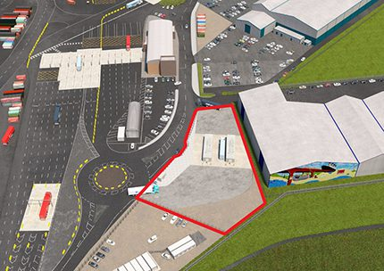 An artist impression of the new HGV refuelling site to be built in the Port of Liverpool in a joint venture between Certas Energy and Peel Ports