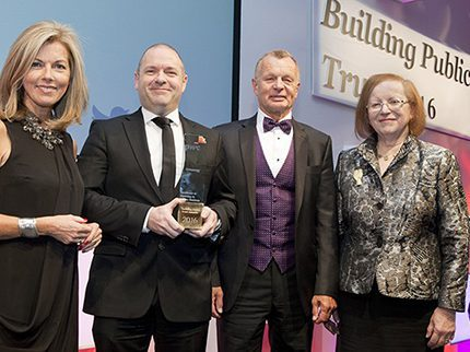 Greenergy played a starring role at the Oscars of the corporate reporting world when Stephen McCaffrey, chief financial officer and chairman Paul Lester CBE were presented with an award by ITV newsreader Mary Nightingale (l) and  Lady Susan Rice CBE