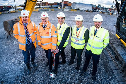 l-r Andrew Martin, Peel Ports Land and Property, David Huck, port director, Paul Williams, director Certas Energy, Franco Moller, director of fuel cards and Andy Goodwin, national bunker manager from Certas Energy, holding ceremonial shovel