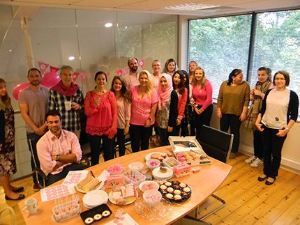 Fully embracing the pink theme, staff at Prax Petroleum tucked into platefuls of pink goodies
