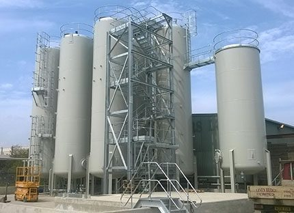 """The new tank farm at CSG's Middlesbrough oil reclamation facility """"Our plan is to recover substantial quantities of useful lubricating oils, fuels and other hydrocarbon products from waste oils brought to the plant from across the north east,"""" said operations manager Jen Cartmell"""