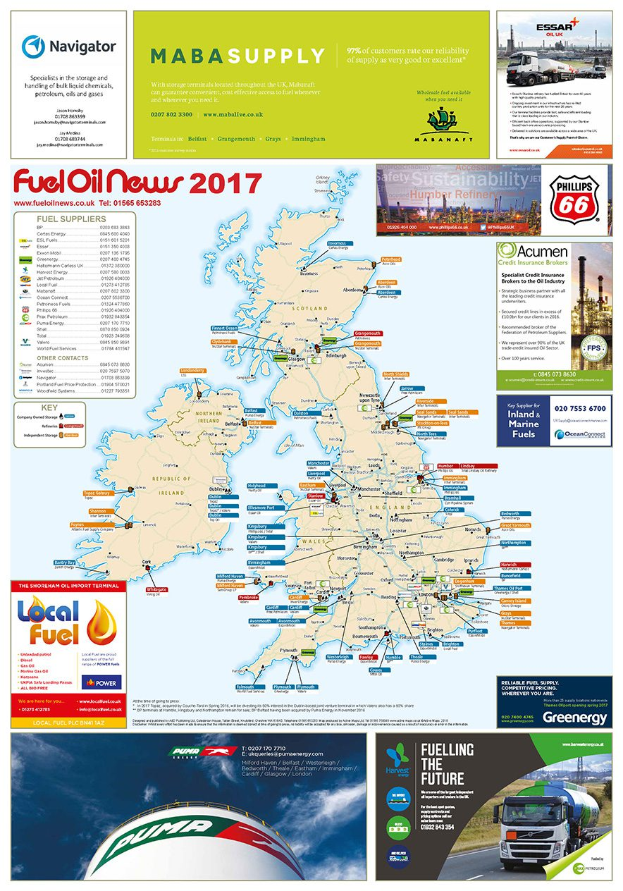 a1 copies of the fuel oil news storage terminals wall map are available to buy for subscribers at 5 each for folded 10 each for rolled and 15 each for